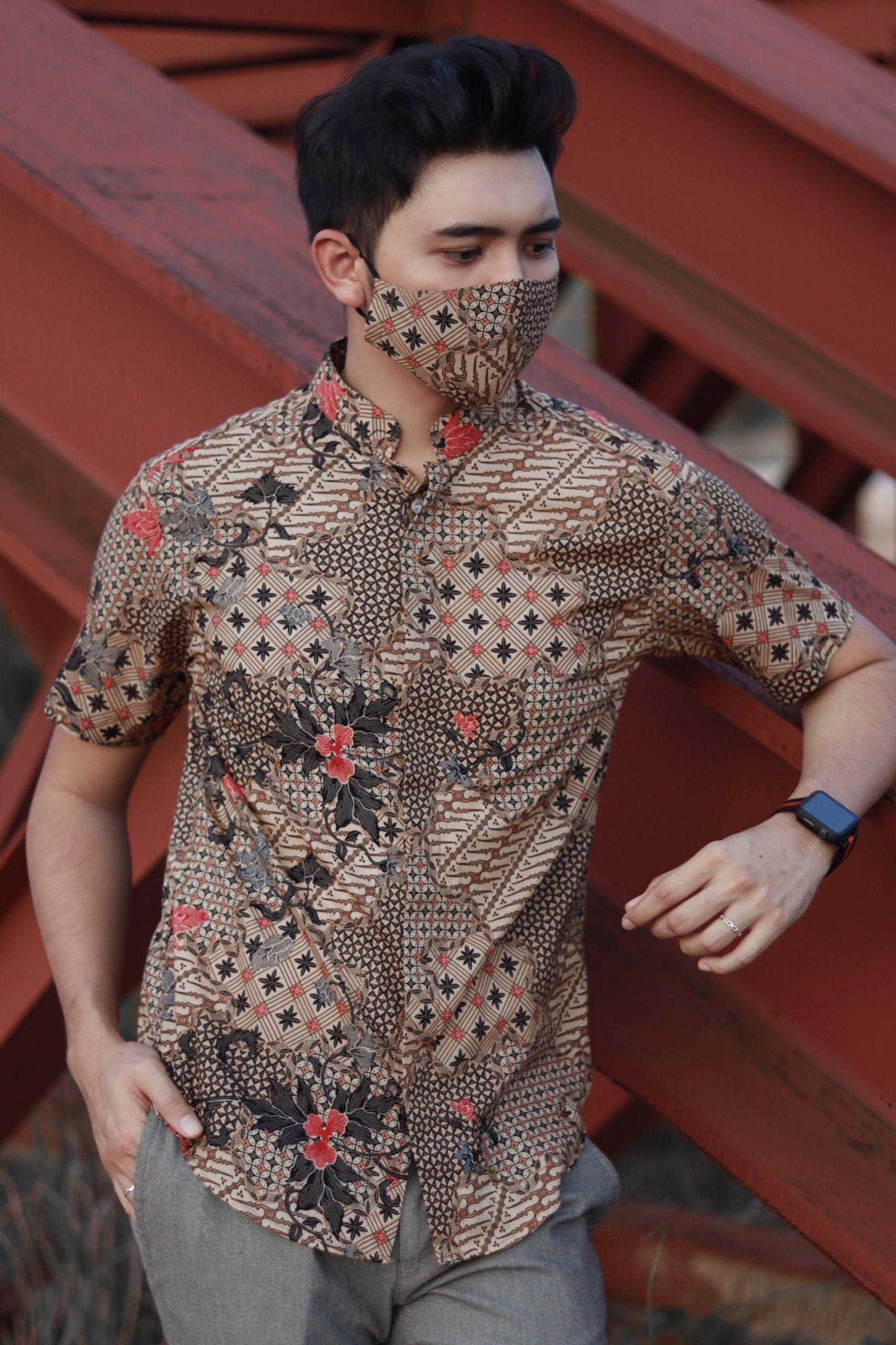 Baju Batik Banded Collar + Face Mask | BT020 - T E M A . M Y